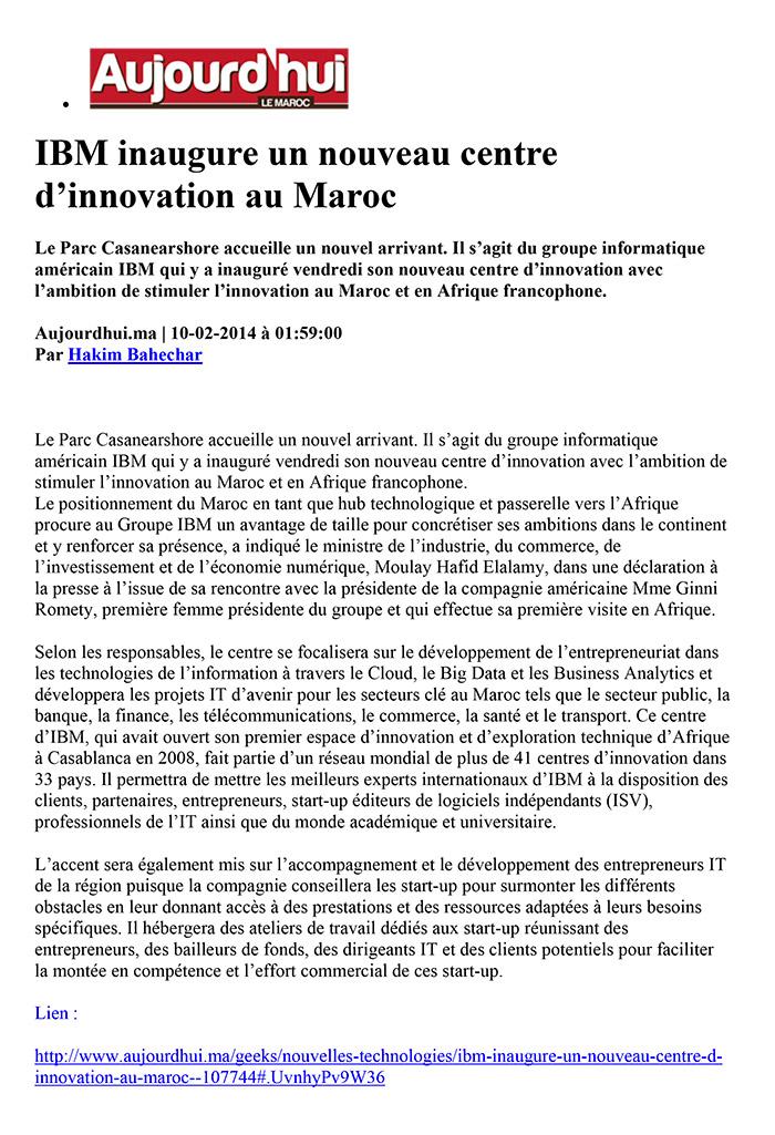 Aujourd'hui le Maroc 10-02-2014