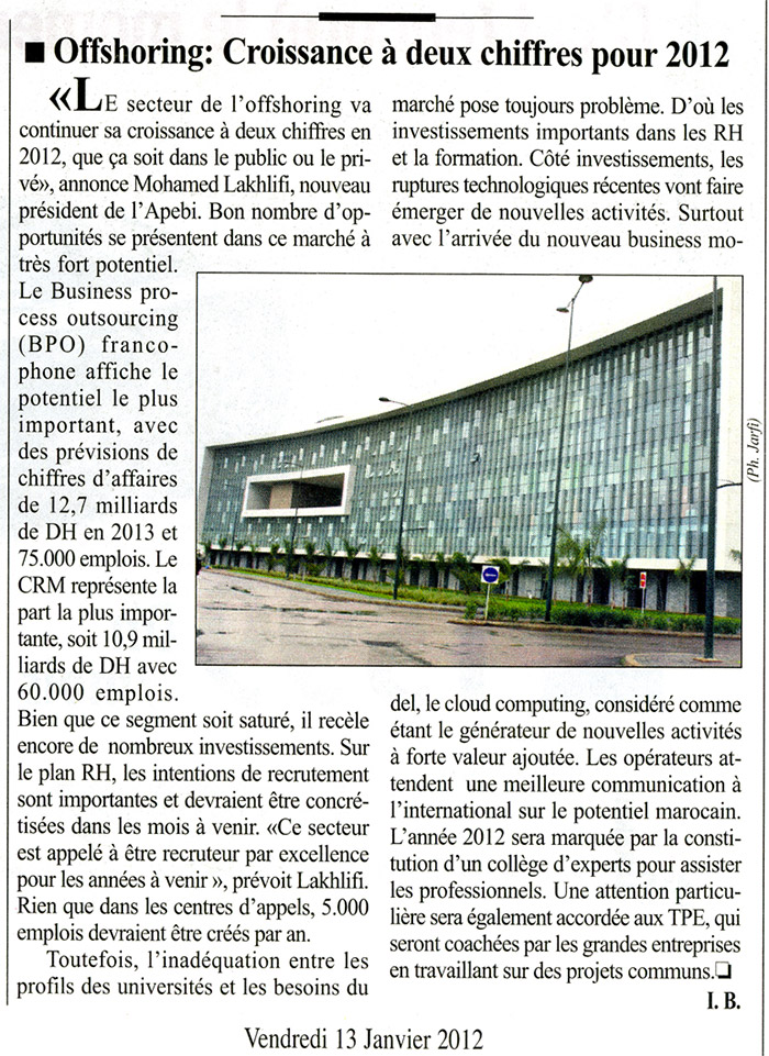 L' Economiste 13-01-2012