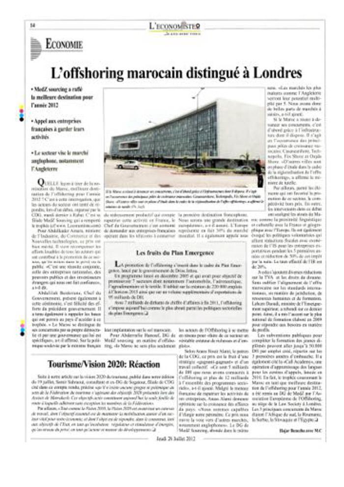 L'Economiste P14 26-07-2012